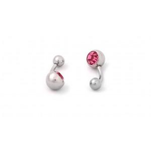 Cercei buric cristal roz