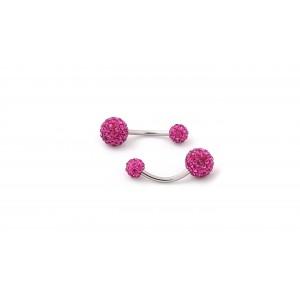 Cercel buric bile cristale roz